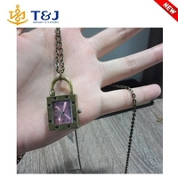 Newest design fashion vintage lock and watch long boy and girl pendant necklaces