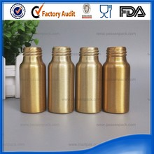 Empty aluminum travel size cosmetics bottles