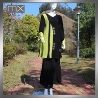 full sleeve kaftan dual color beaded muslim garment malaysia baju kurung arabic style abaya