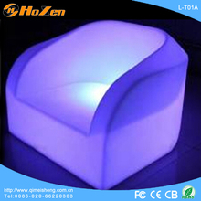 2014 new design plastic 16 colors rechargeable bar furniture light illuminated sofa chair for bar