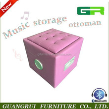 Modern music stool, storage ottoman with speaker, bluetooth audio rock chair