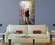 Warmly color two lovers walking on the rainy road under an umbrella canvas oil painting for bedroom
