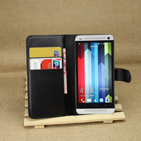 PU Leather flip wallet case cover for htc one m7