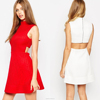 100% Polyester High Neck and Cut Out Back Fashion Girls Red Knit Skater Dress