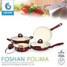 Durable non-stick porcelain coated cast iron german cookware with removable handle