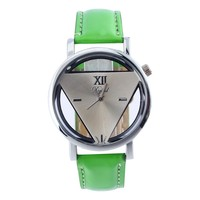 Fashion Men Women Restoring Triangle Hollow out watches simple casual leather wrist watches