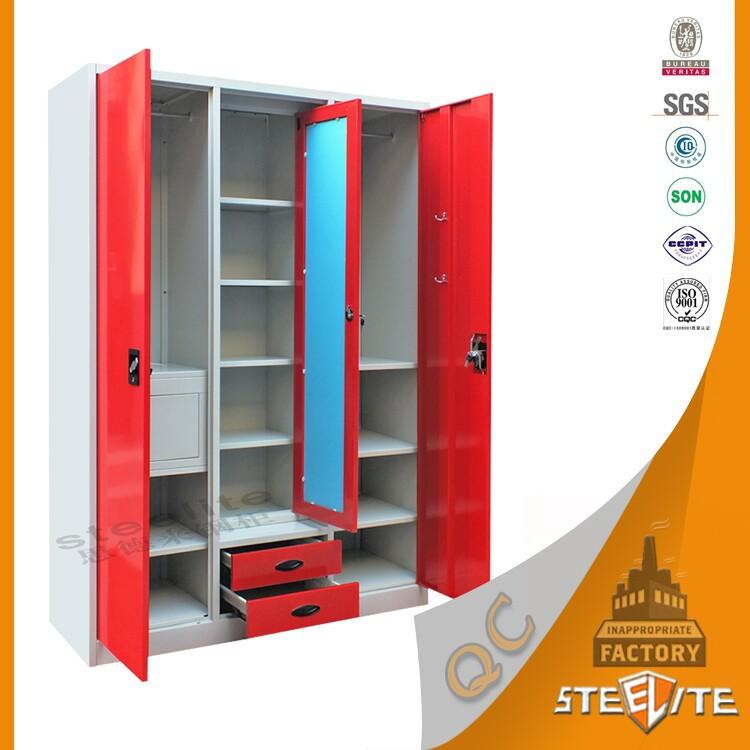 Factory Price Home Furniture Bedroom Almirah Designs 3 Door Metal ...