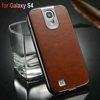 PU Skin PC Case for Samsung Galaxy S4 i9500 with PU Leather Skin Bling Back Cover 3 Styles, Drop Shipping