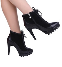 cowhide leather women boots high heel ankle boots fashion black zipper women boots shoes