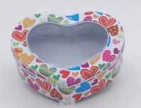 heart shaped tin can box 3pcs set with window