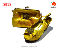 Autumn nice SB15 yellow matching shoes and bags/Italian matching shoes and bags