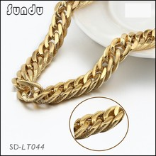 Artificial gold plated jewelry stainless steel mesh side chain necklace for men