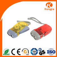 Emergecy Rechargeable Flashlight 2 Led Torch Plastic Mini Hand Crank Dynamo TorchLight