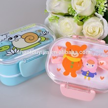 Double Layers cartoon plastic kids lunch box with fork and spoon
