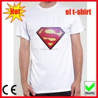 El kids tshrit white led tshirt superman for holiday