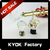 KYOK Delicate attractive glass curtain rod finial, luxury home decorative window accessories, wrought iron curtain pole factory