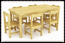 Cheap Natural wooden dining table and chairs set for sale QX-196B