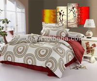 100% cotton red and yellow floral pigment printing bed in a bag comforter set