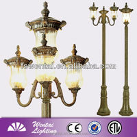 China style light fixtures for street deco three heads garden solar light