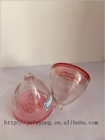rose bottom, conical pink clear perfume glass bottle