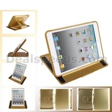 Detachable Style Rubber Coated PC+TPU 360 Rotating Flip Stand Hard PC Case for iPad Mini 2 Retina(Gold)
