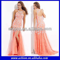 ED-2438 Stunning beaded circle neckline back out see through lace evening dress beautiful lace evening dress high slit