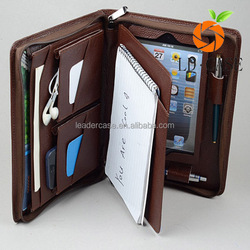 Newest wholesale price notebook in flip wallet leather zipper case for Ipad mini