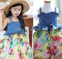 2015 new model frock design denim jeans and flower print baby girl dress