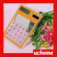 UCHOME Hot selling cheap plastic touch Screen Solar Transparent Calculator for promotion