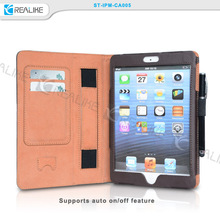 High quality hand holder kickstand leather cases for ipad mini 3, for ipad mini 3
