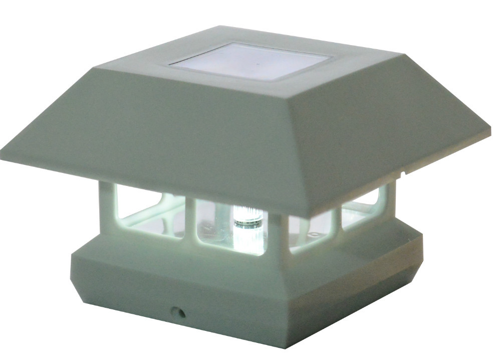 outsunny solar powered led path lamp light deck garden fence post cap. Black Bedroom Furniture Sets. Home Design Ideas