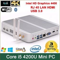 car pc case intel Core i5 4200U processor intel HD 4400 Graphics mini desktop pc case HDMI+VGA Win 7 4k video card desktop pc