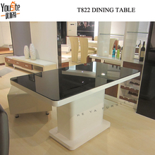 High gloss with black glass top dining tables for dining room