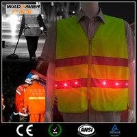 potable led reflective safety vest with pockets