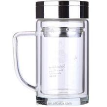 Double wall borosilicate clear glass drinking bottle with handle