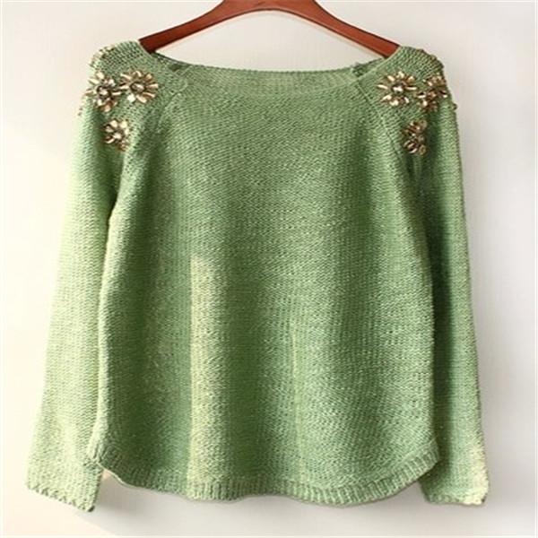 De lana 2014/acrílico suéter de cuello redondo pullover jumper