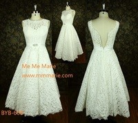 Latest high quality China custom made A-line white lace sexy short wedding dress BYB-608