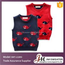 Algodón orgánico ropa de bebé niños pescado tejer patrón de suéter suéter infantil suéter chaleco de punto