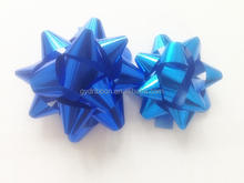 Glitter blue star bow in matte metallic/China factory supply PP pull star bow for festival decoration,shiny star bow,gift bow