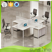 2015 Latest Design Wooden Office Staff Desk For 4 Person L Shaped Office Partition Used MDF Workstation Modular