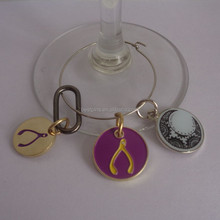 bottle glass wine charms with metal circle ring, enamel zinc alloy charms tags