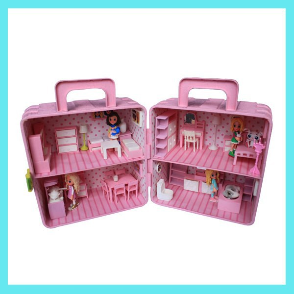 Plastic Doll House With Mini Furniture Customized Pink Doll House Buy Doll House Plastic Doll