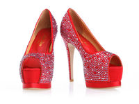 PU flat red bright drill opened toe heels women wedding high heels shoes