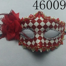 hand painted red party mask with flower 46009
