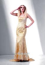 2014 sirena espaguetis correa de lentejuelas de moda amarillo noche llena de longitud/vestido de cóctel
