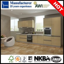 BeigeTempered Glass High Gloss Fashionable and Affordable Modern Kitchen Cabinets design with Handles