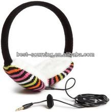 plush/fleece/knitted fashion earmuff headphone , cheap price, promotion