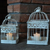 2015 Beautiful small square vintage white decorative outdoor bird cage