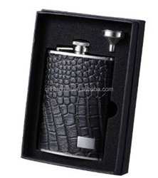 7oz metal unique hip flask with stainless steel funnel and gift box