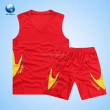 Big World Hot Sale Classical Basketball Uniform/Wear For Man/Basketball Jersey/Red Basketball Uniform Wholesale